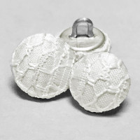 W-1037 - White Lace Bridal Buttons, 2 Sizes - Priced by the Dozen