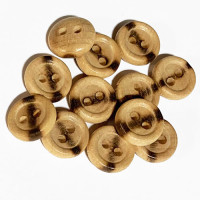 "WD-201 - Burnt Wood Shirt Button - 1/2"", Sold by the Dozen"