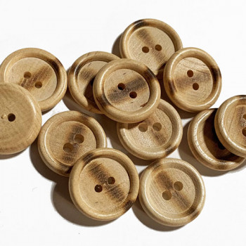 "WD-201B - Burnt Wood Button - 13/16"", Sold by the Dozen"