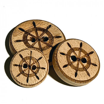 WD-280 Ship's Wheel Wooden Button, 3 Sizes