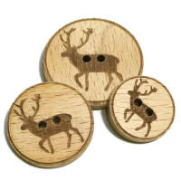 WD-284 Deer + Antlers Wood Button, 3 Sizes
