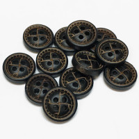WD-99102 Antique Brown Wood Shirt Button, Priced by the Dozen