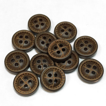 WD-99103 Brown Wood Shirt Button, Priced by the Dozen