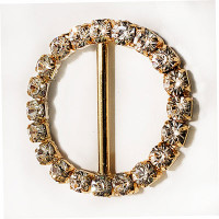 Z-1355-Crystal Rhinestone Buckle with Gold Base, 2 Sizes