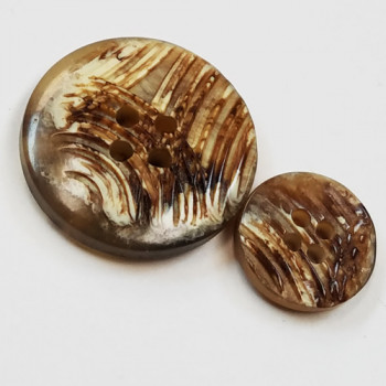 H-1275 - Brown, Real Horn-Look Button - 4 Sizes