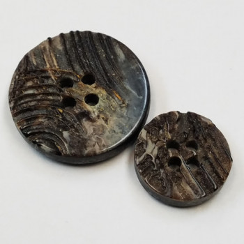 H-1275 - Black, Real Horn-Look Button - 3 Sizes