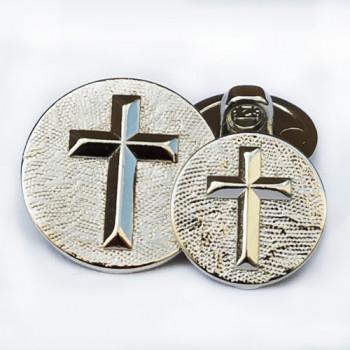 """M-2806-Silver Cross Button - 5/8"""""""