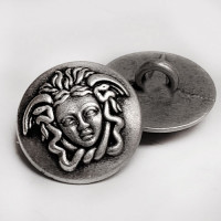 M-7909 Medusa Head Metal Fashion Button, 5/8""
