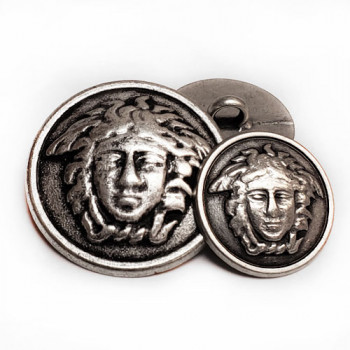 M-7922-Medusa Head Metal Fashion Button, 2 Sizes