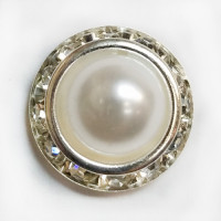 RHP-1807  Pearl and Rhinestone Button, 3 Sizes