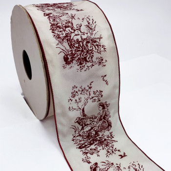 "V7661 Vintage Wired Ribbon, 2-3/4""  - Sold by the Yard"