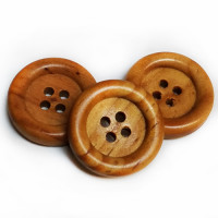 WD-1185-D Brown Wood Button, 2 Sizes - Priced by The Dozen